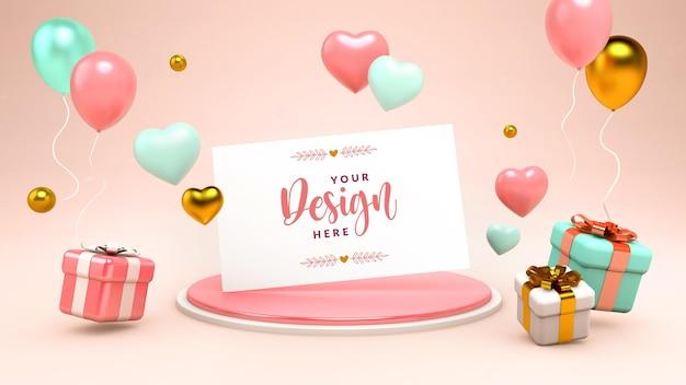 Wenskaartmodel met zwevende harten, geschenken en ballonnen in 3d-rendering