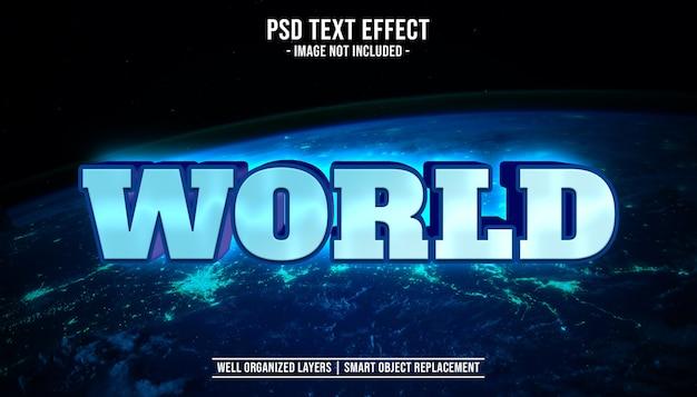 Wereld 3d bewerkbaar tekststijleffect