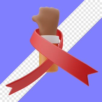 Wereld aids dag handgebaar 3d illustratie in transparante achtergrond