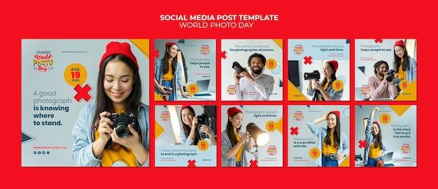Wereld fotodag social media postsjabloon