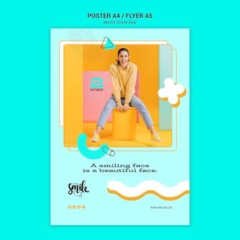 Wereld glimlach dag concept poster sjabloon