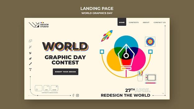Wereld grafische dag bestemmingspagina sjabloon