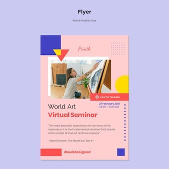 Wereld grafische dag flyer-sjabloon