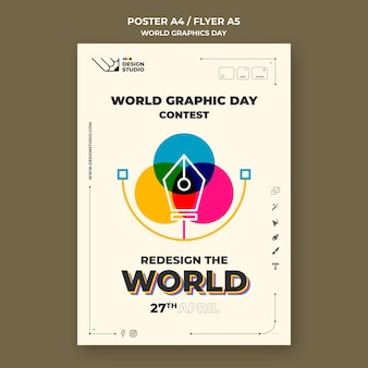 Wereld grafische dag poster sjabloon