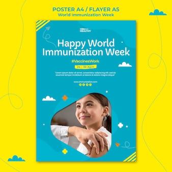 Wereld immunisatie week poster sjabloon