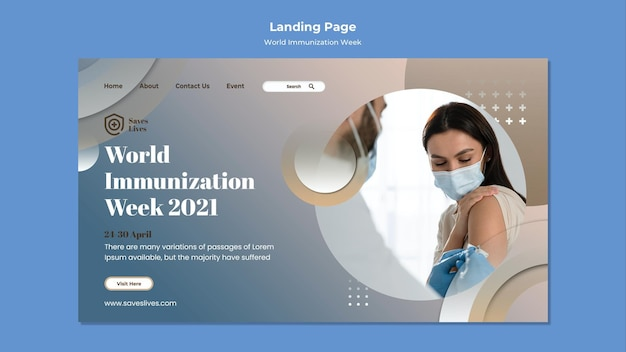 Wereld immunisatie week websjabloon