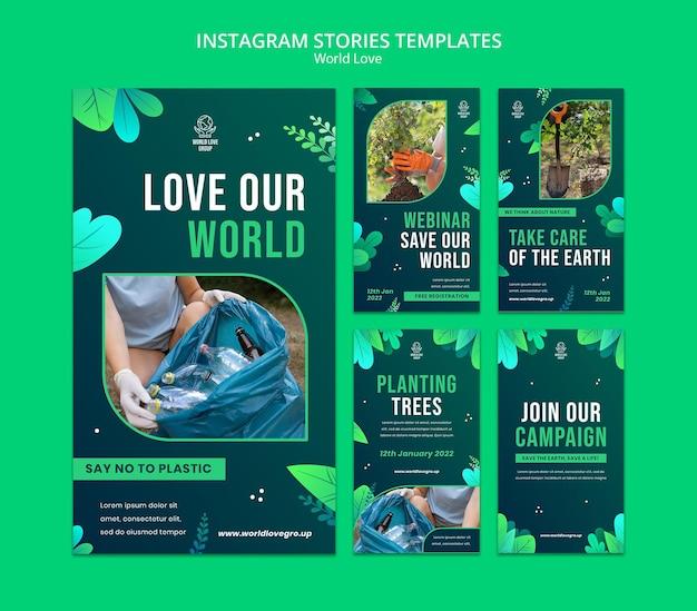 Wereld liefde insta verhaal ontwerpsjabloon