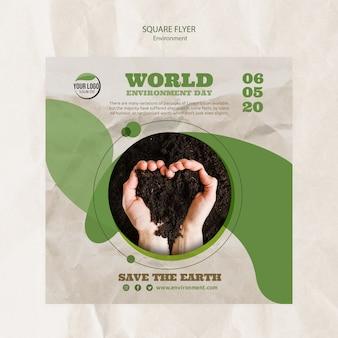 Wereld milieu dag folder sjabloon met bodem in hartvorm