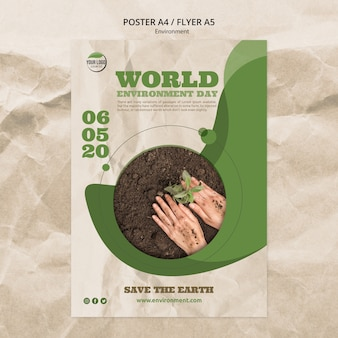 Wereld milieu dag poster sjabloon met handen en plant