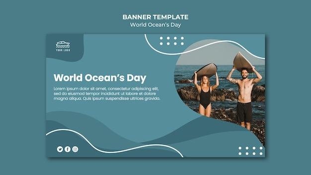 Wereld oceaan dag banner