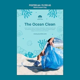 Wereld oceaan dag flyer sjabloon
