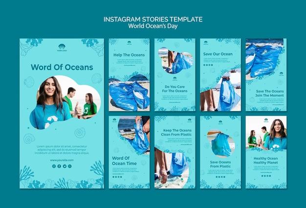 Wereld oceaan dag instagram verhalen sjabloon