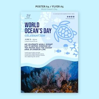 Wereld oceaan dag poster sjabloon