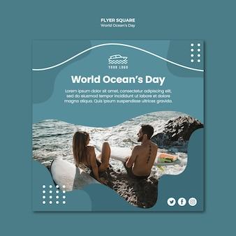 Wereld oceaan dag vierkant flyer sjabloon