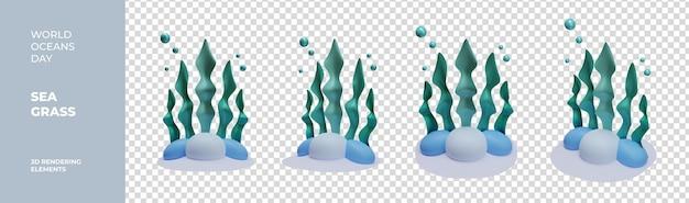 Wereld oceaan dag zee gras 3d-rendering elementen