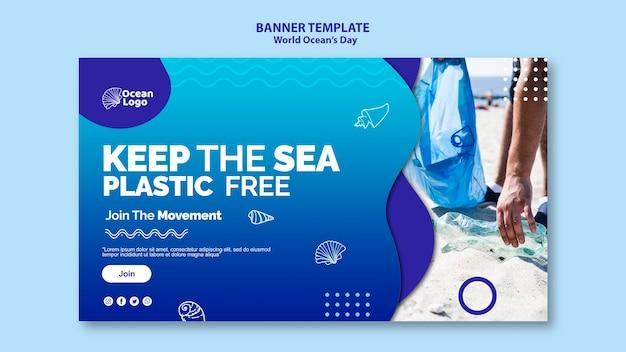 Wereld oceanen dag banner sjabloon thema
