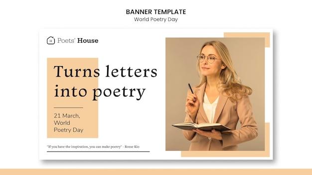 Wereld poëzie dag banner