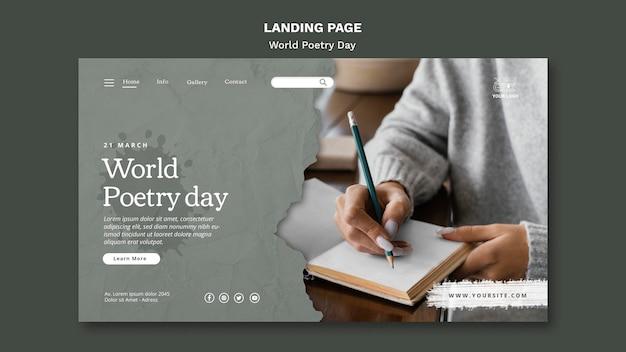 Wereld poëzie dag bestemmingspagina sjabloon