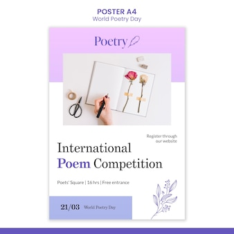 Wereld poëzie dag concept poster sjabloon