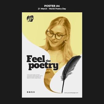 Wereld poëzie dag evenement afdruksjabloon