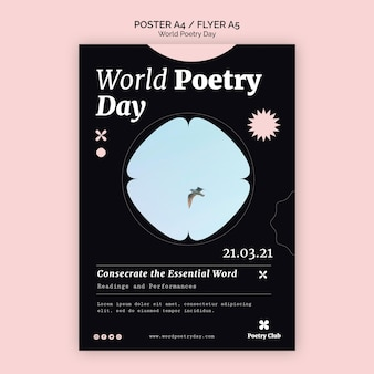 Wereld poëzie dag evenement folder sjabloon