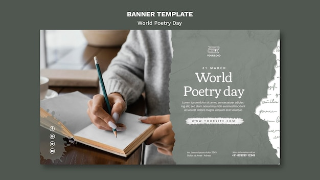 Wereld poëzie dag evenement sjabloon voor spandoek met foto