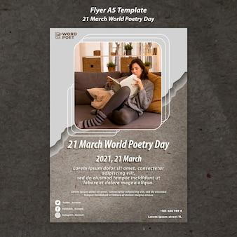 Wereld poëzie dag flyer