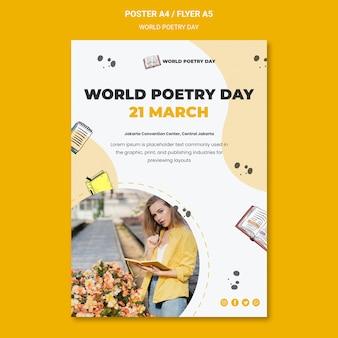 Wereld poëzie dag poster sjabloon