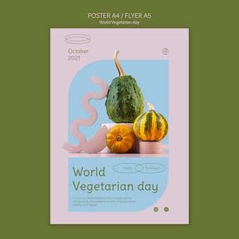 Wereld vegetarische dag afdruksjabloon
