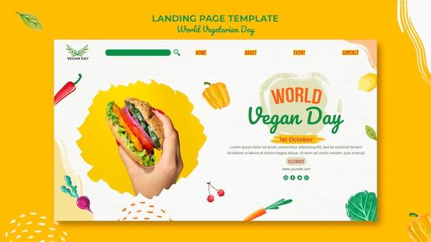 Wereld vegetarische dag bestemmingspagina sjabloon Premium Psd