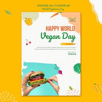 Wereld vegetarische dag flyer sjabloon stijl