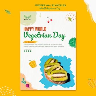 Wereld vegetarische dag flyer-sjabloon Gratis Psd