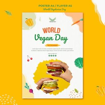 Wereld vegetarische dag flyer sjabloonontwerp