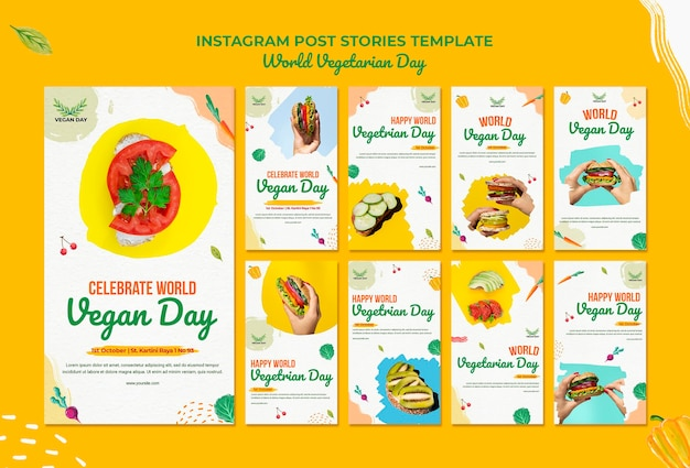 Wereld vegetarische dag instagram-berichten Premium Psd