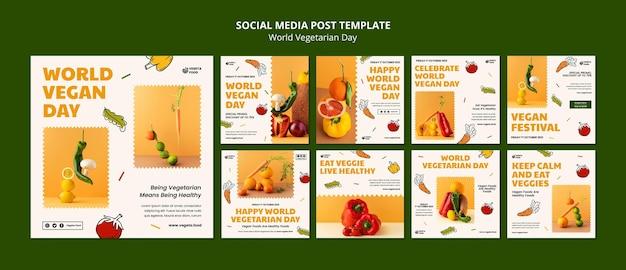 Wereld vegetarische dag instagram posts set