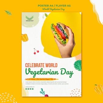 Wereld vegetarische dag poster sjabloon stijl