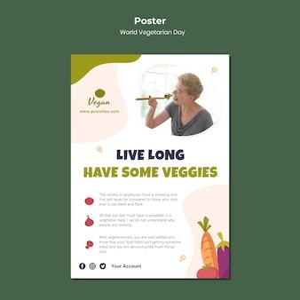 Wereld vegetarische dag poster sjabloon