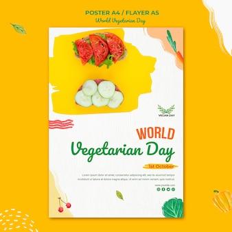 Wereld vegetarische dag poster sjabloonontwerp