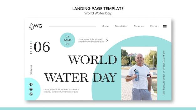Wereld water dag concept bestemmingspagina sjabloon