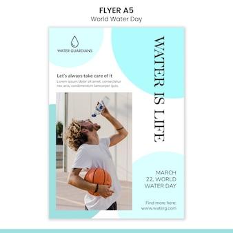 Wereld water dag concept folder sjabloon
