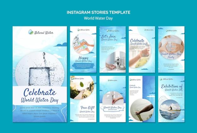 Wereld water dag instagram verhalen sjabloon