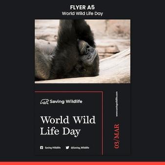 Wereld wilde leven dag flyer