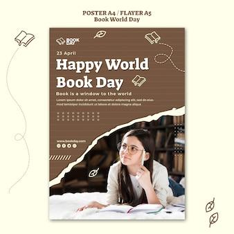 Wereldboekdag folder sjabloon