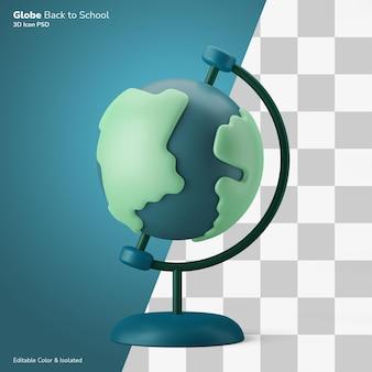 Wereldbol aardrijkskunde klasse symbool 3d illustratie pictogram bewerkbaar geïsoleerd