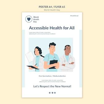 Wereldgezondheidsdag afdruksjabloon