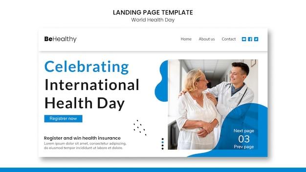 Wereldgezondheidsdag bestemmingspagina sjabloon
