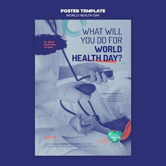 Wereldgezondheidsdag folder sjabloon met foto