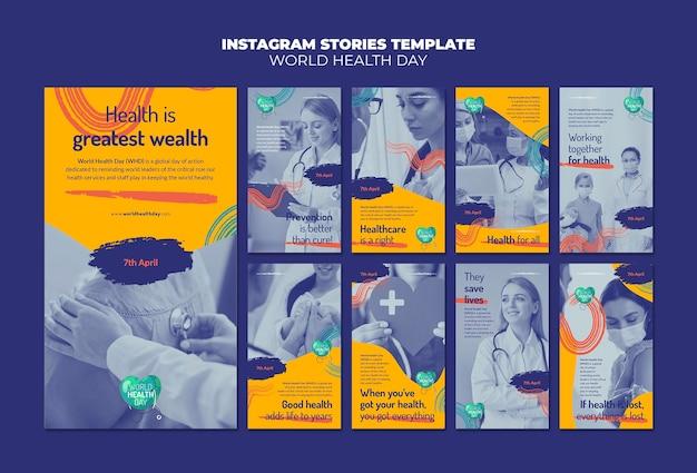 Wereldgezondheidsdag instagram-verhalen ingesteld