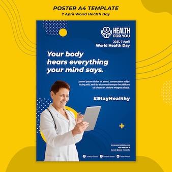 Wereldgezondheidsdag poster sjabloon