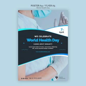 Wereldgezondheidsdag poster sjabloon Gratis Psd
